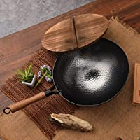 Induction Iron Wok Non-Stick Stir-Fry Flat- Bottomed Pan 32CM Without Ears Cooker Kitchen Wood Handle Non Coating