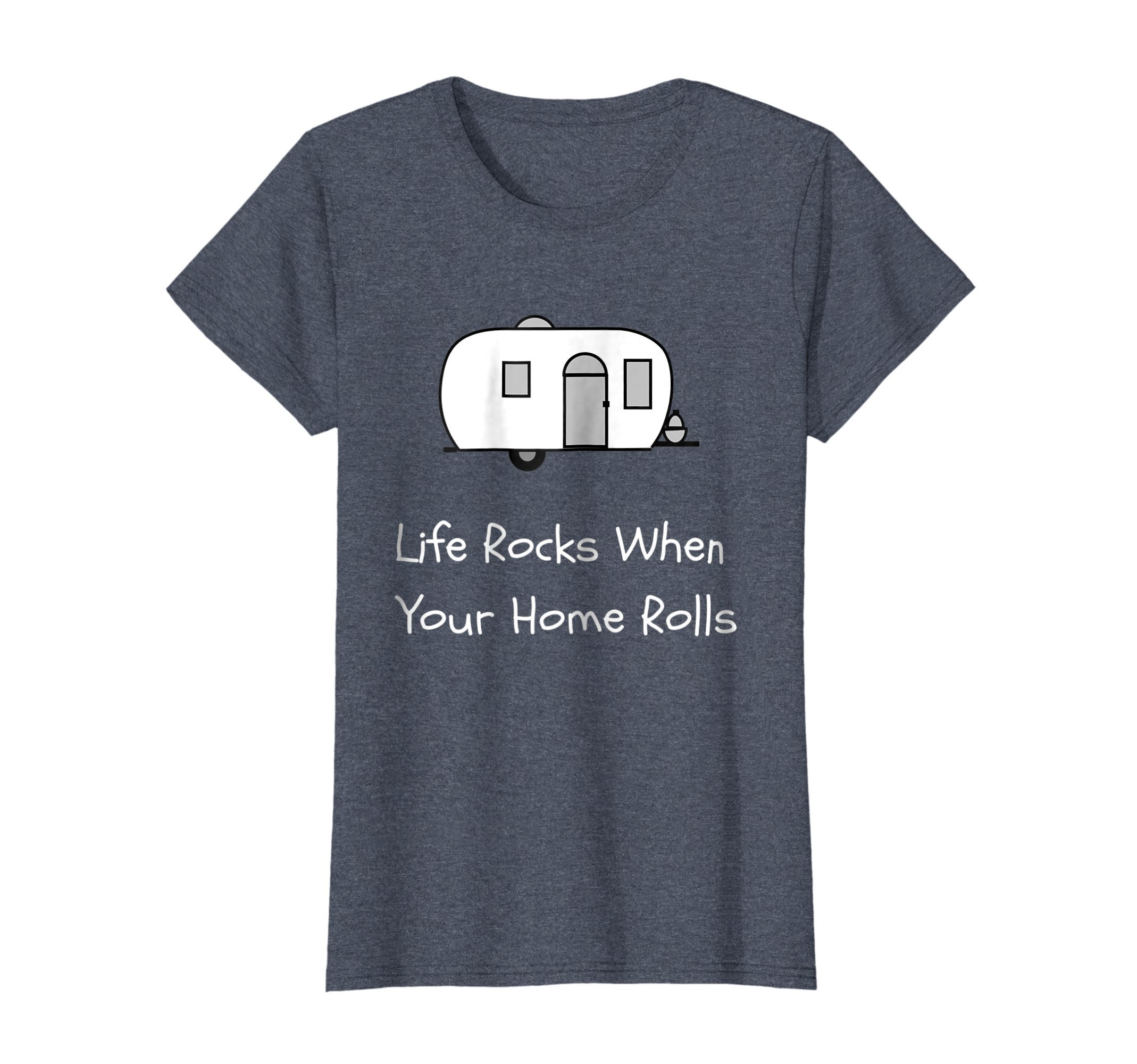 Womens RV Life TShirt Camping Accessories for Travel Trailer Large Heather Blue