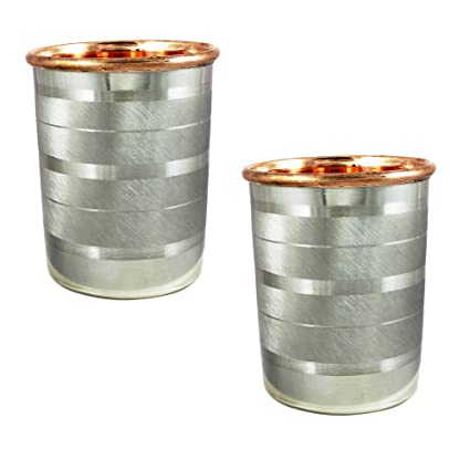 SKAVIJ Tumblers Glasses Set of 2 Drinkware Accessories Copper and Stainless Steel for Healing, Capacity 250 Ml