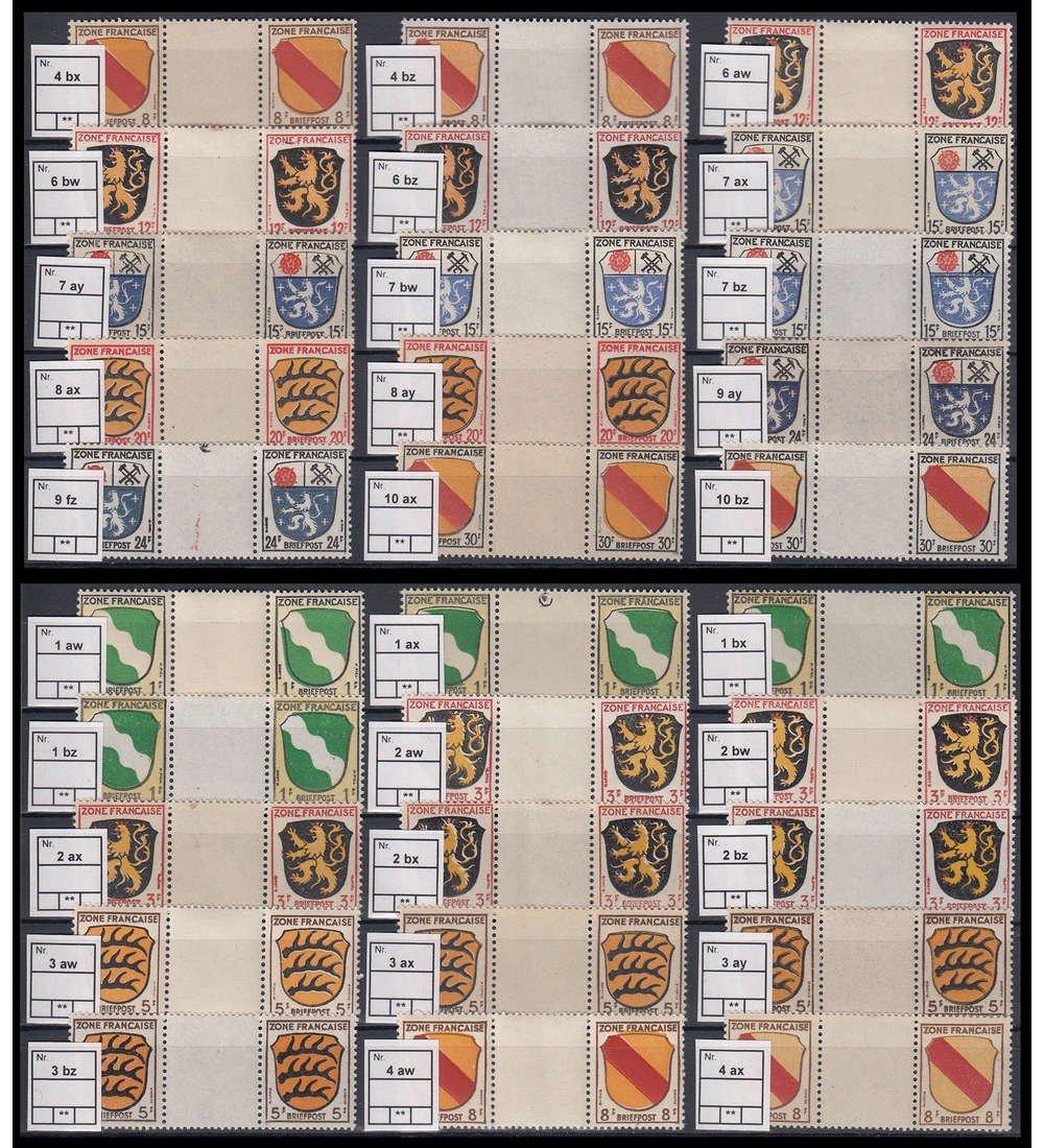 Goldhahn Französische Zone Zwischensteg-Paare postfrisch  Spezial Briefmarken für Sammler