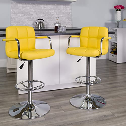 Flash Furniture 2 Pack Contemporary Yellow Quilted Vinyl Adjustable Height Barstool