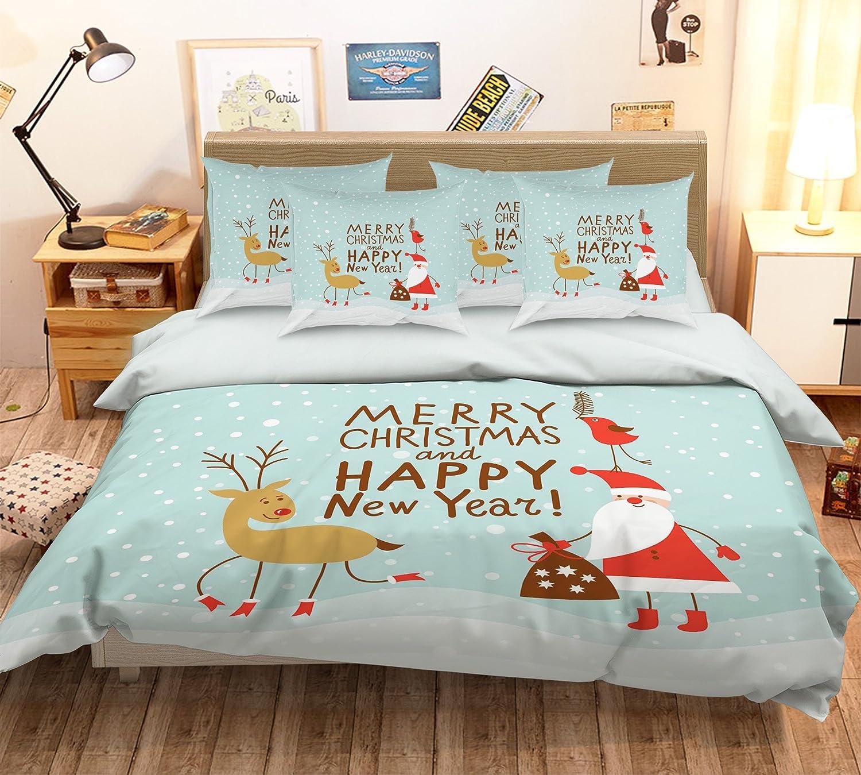 3D サンタクロース クリスマス 鹿 冬 漫画 19 寝具枕カバーキルト羽毛布団カバーセットシングルクイーンキング  3D写真の寝具 Seven (クイーン) B07CQLPQYB クイーン