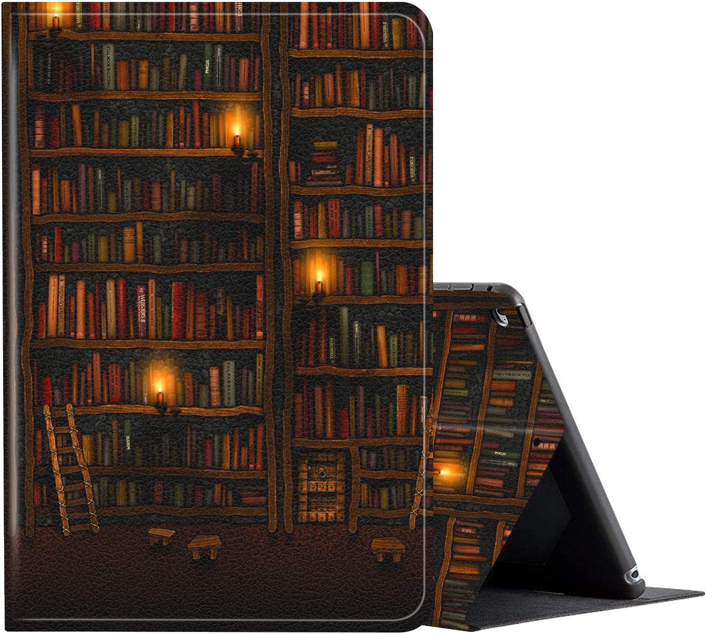 iPad 10.2 Case (2020/2019) 8th/7th Generation ipad Case,Amook Adjustable Non-Slip Folio Stand with Auto Wake/Sleep Smart Cover for New Apple iPad 8/7 Gen 10.2 inch -Bookshelf