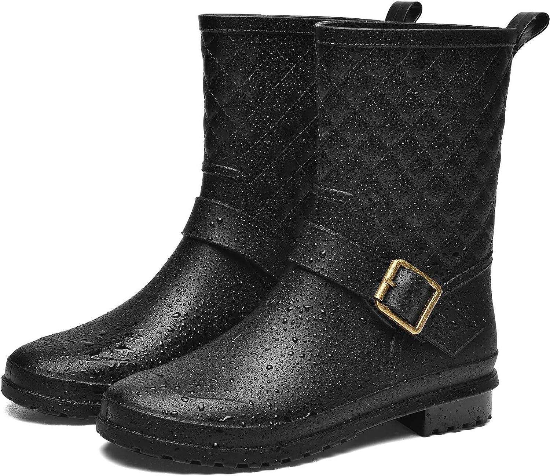 Women/'s Rain Boots Rubber Sole buckle strap Design Short Waterproof Shoes