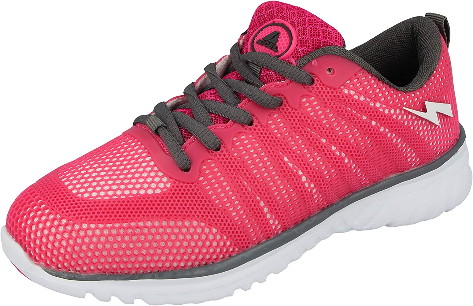 WOMENS WHITE PINK LACE UP RUNNING SPORTS GYM TRAINERS SHOES LADIES UK SIZE 3-8