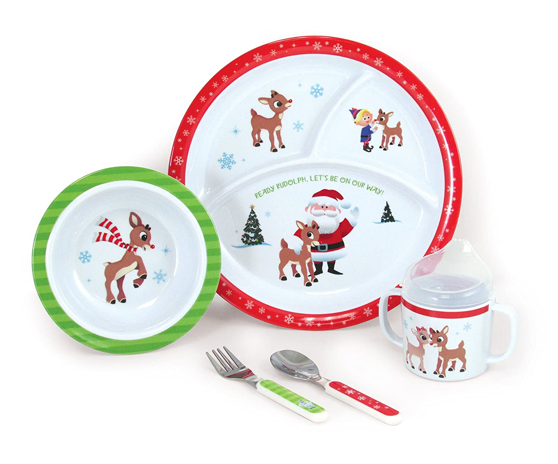 Kids PreferROT 5 Piece Rudolph Melamine Feeding Dish Dish Dish Set 8903aa