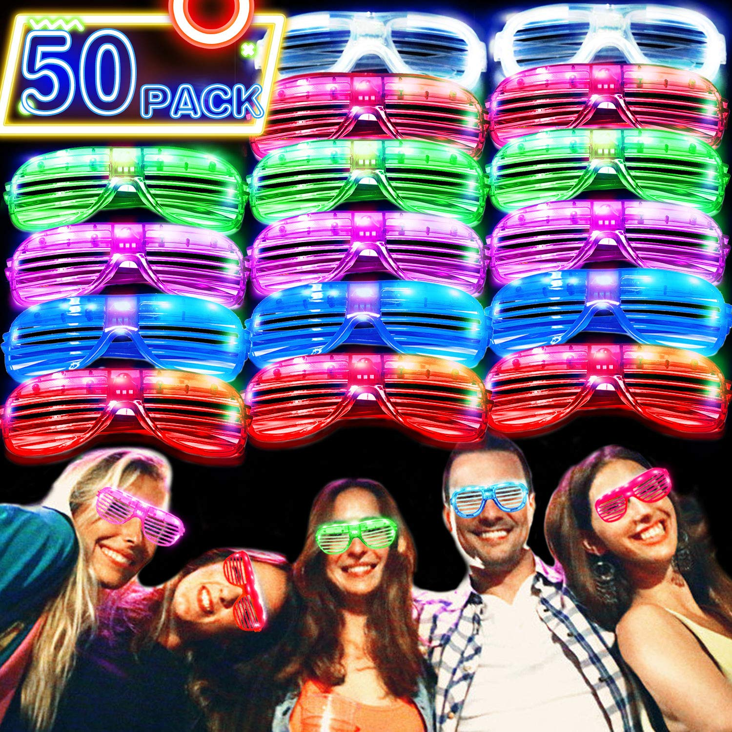50 Pack LED Glasses [Super Set] Flashing Glasses 6 Color Light Up Plastic Shutter Shades Glasses 2019 Glow in The Dark Party Supplies Led Sunglasses for Adults Kids Rave Neon Glasses Party Favor