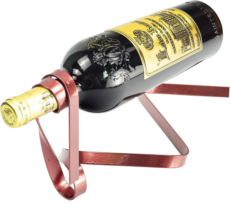 Soporte de botella de vino de cinta suspendida, soporte de una botella decorativa que sirve para exhibición Estante de vino, elegante botella de vino de hierro Organizador Ideal para amantes,rojo