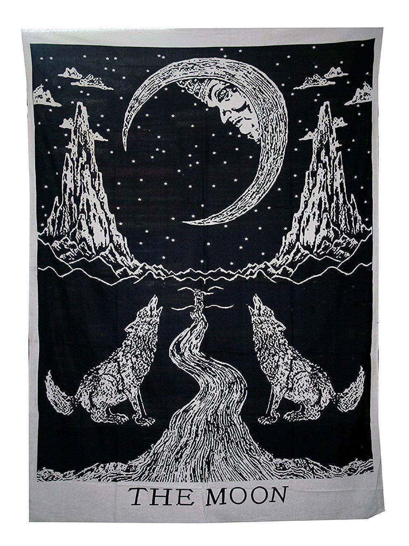 Amknn Tarocchi arazzo, arazzo tarocchi The Moon The Star The Sun arazzo medievale Europa divinazione Tapestry Wall Hanging arazzi misterioso arazzo per home decor, Moon Constellations, 148x200cm