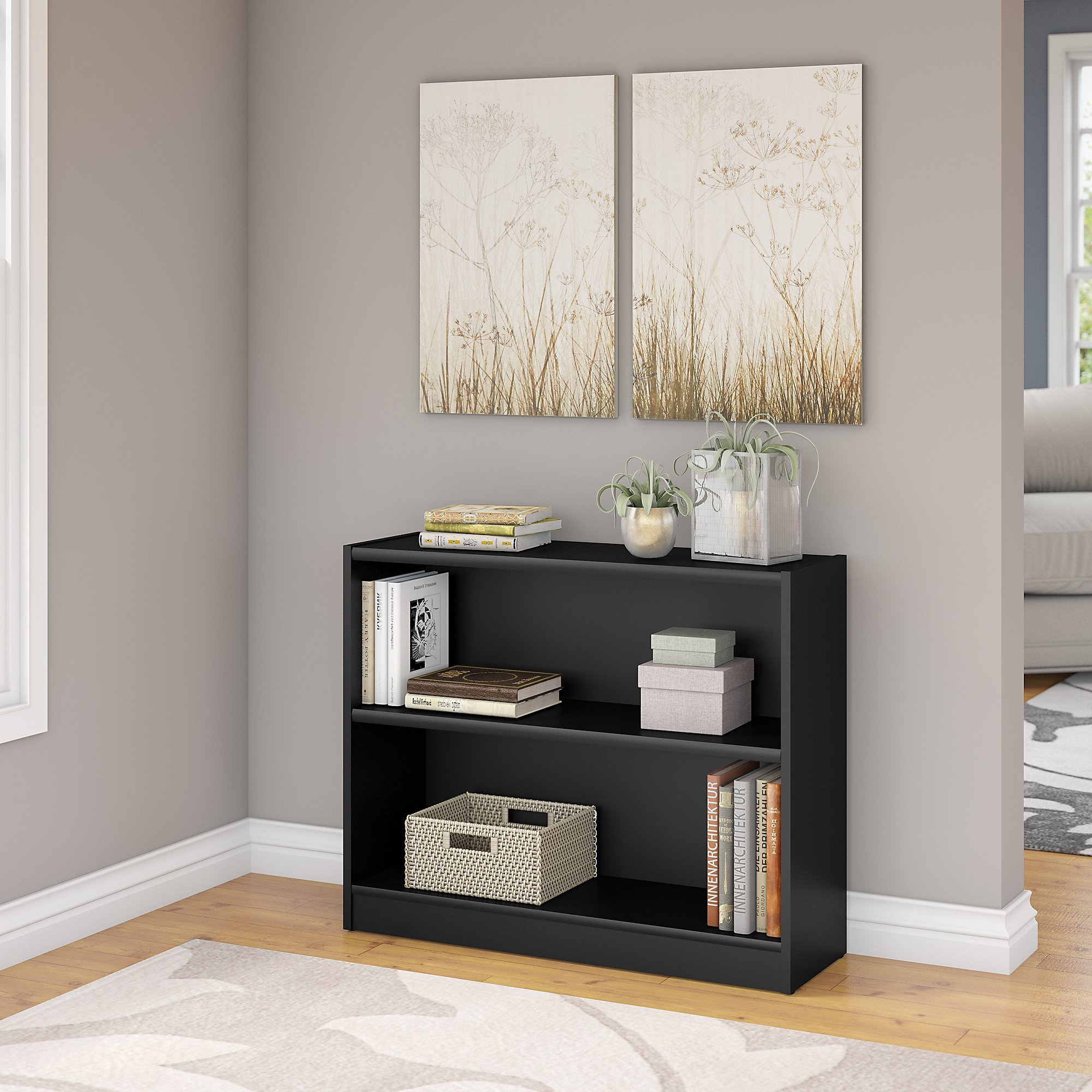 Bush Furniture Universal 2 Shelf Bookcase in Classic Black