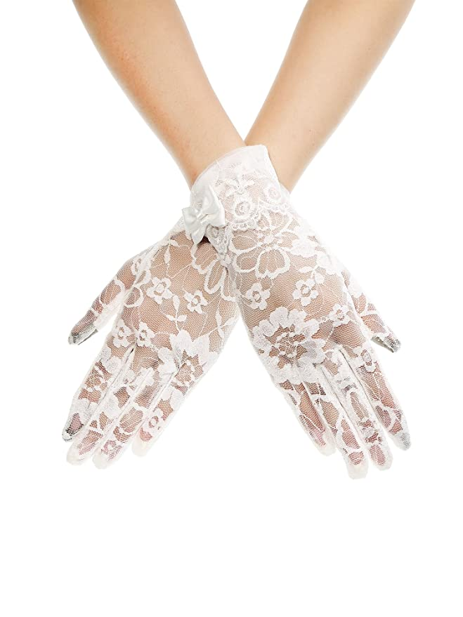 Maxdot Summer Women Lace Bow Cotton Short Screen Touch Gloves Sun UV Protection Driving Gloves (White)