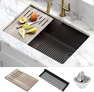 Kraus Kguw2 30mbr Bellucci Workstation 30 Inch Undermount Granite Composite Single Bowl Kitchen Sink Metallic Brown Amazon Com