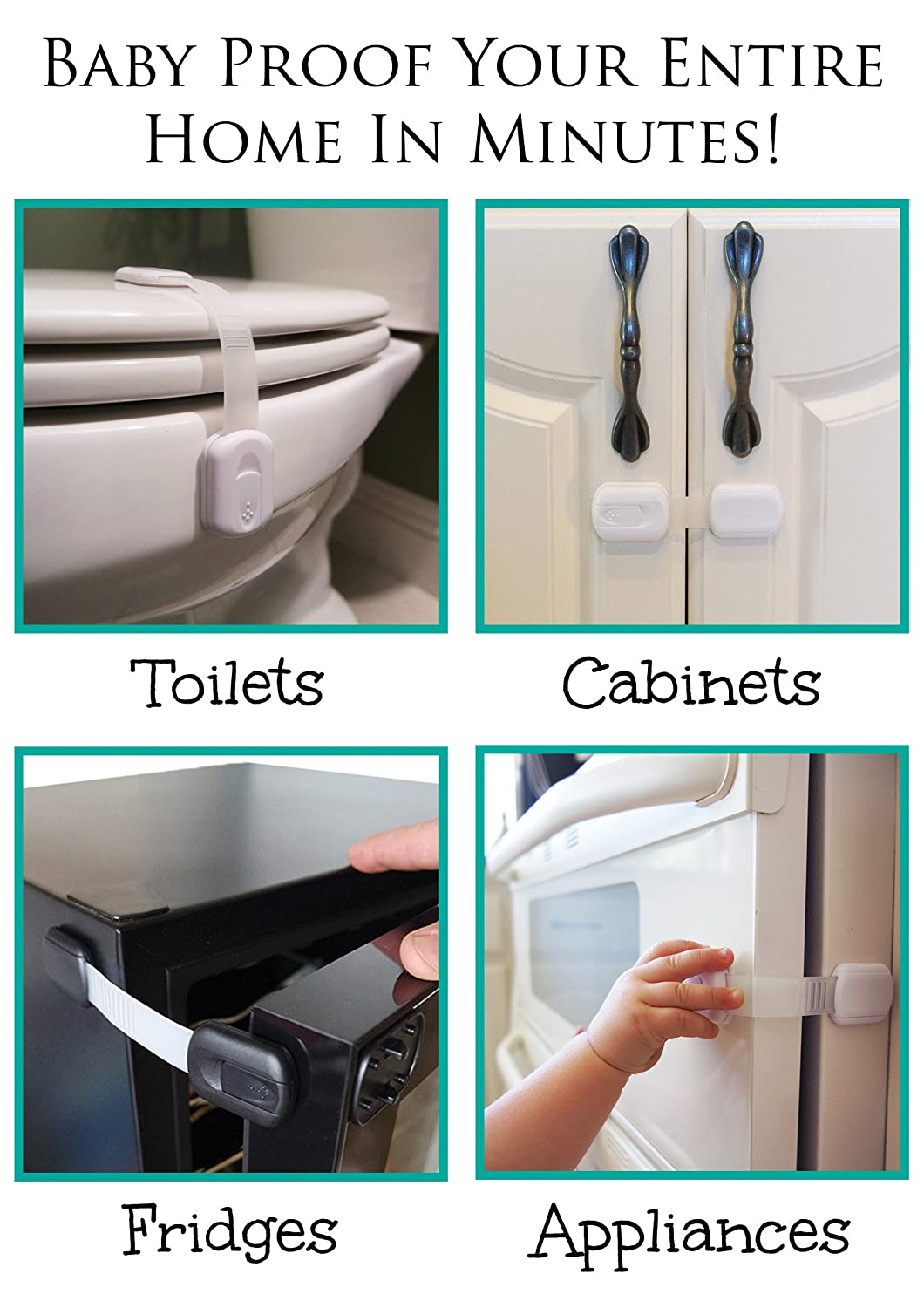 6-Pack Brown Drawers Uses 3M Adhesive with Adjustable Strap and Latch System Baby Safety Locks Fridge and Oven Child Proof Cabinets Appliances Toilet Seat Tools Not Required
