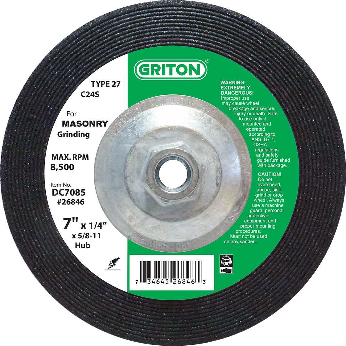 Griton DC7085 Type 27 Grinding Wheel Used on Masonry with Hub, Silicon Carbide, 8500 RPM, 7'' Diameter (Pack of 10)
