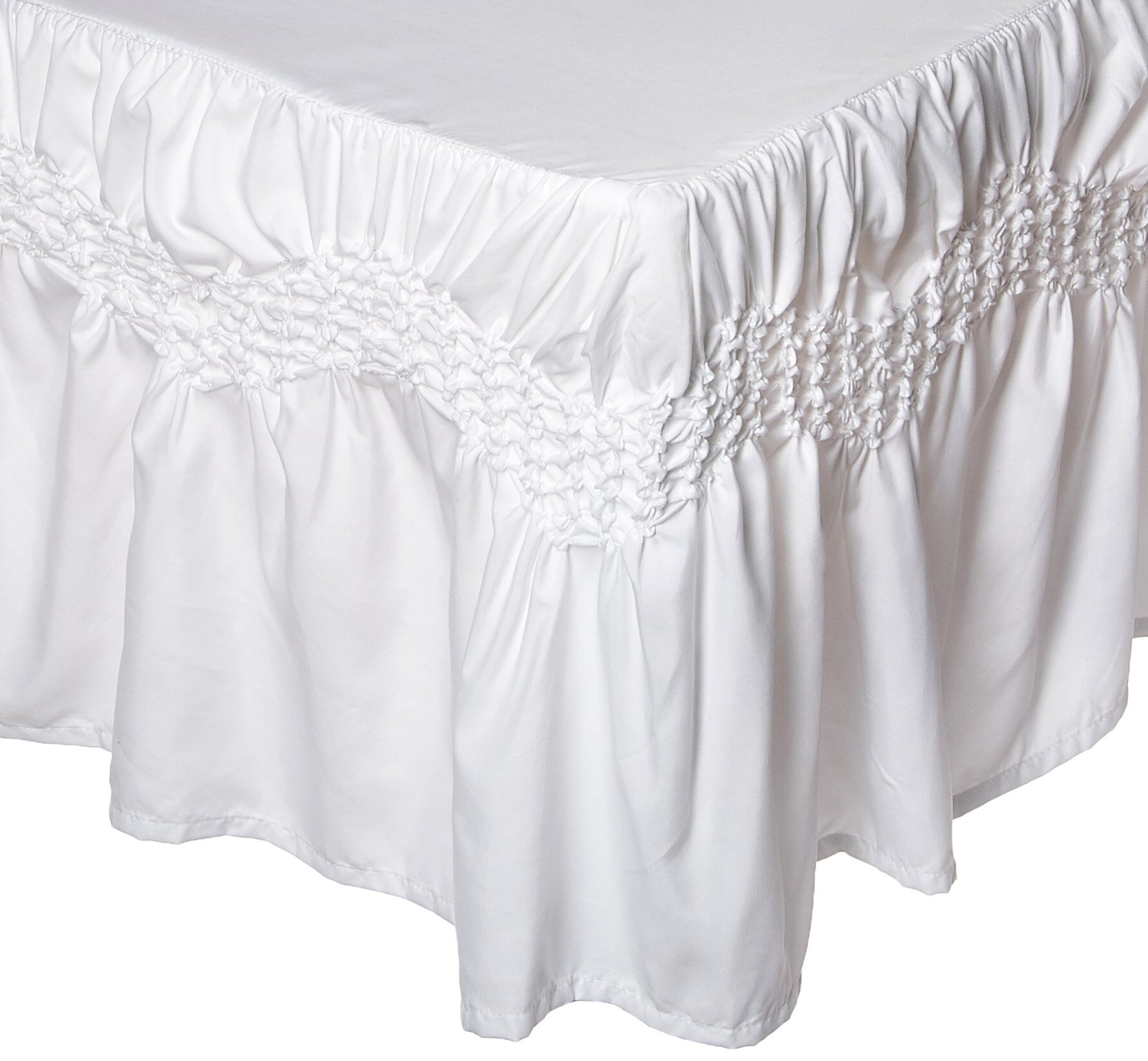 Elegant Comfort 1RW-Puff-Collection-Bedskirt-Queen-White
