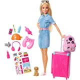 Barbie Travel Doll, Blonde, with Puppy, Opening Suitcase, Stickers and 10+ Accessories, for 3 to 7 Year Olds, Multicolor