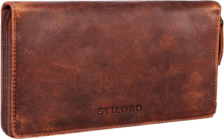 STILORD 'Emilia' Billetera de Cuero con protección RFID y NFC - Cartera Piel Viene en una Elegante Caja de Regalo, Color:Kara - Cognac