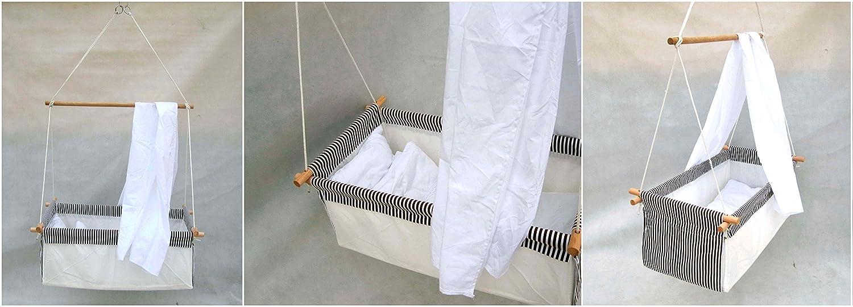 Baby Schaukel H/ängewiege H/ängematte Wiege Stubenwagen Komplett-Set mit Seilen Himmelstange Himmel und W/äscheset GRAU