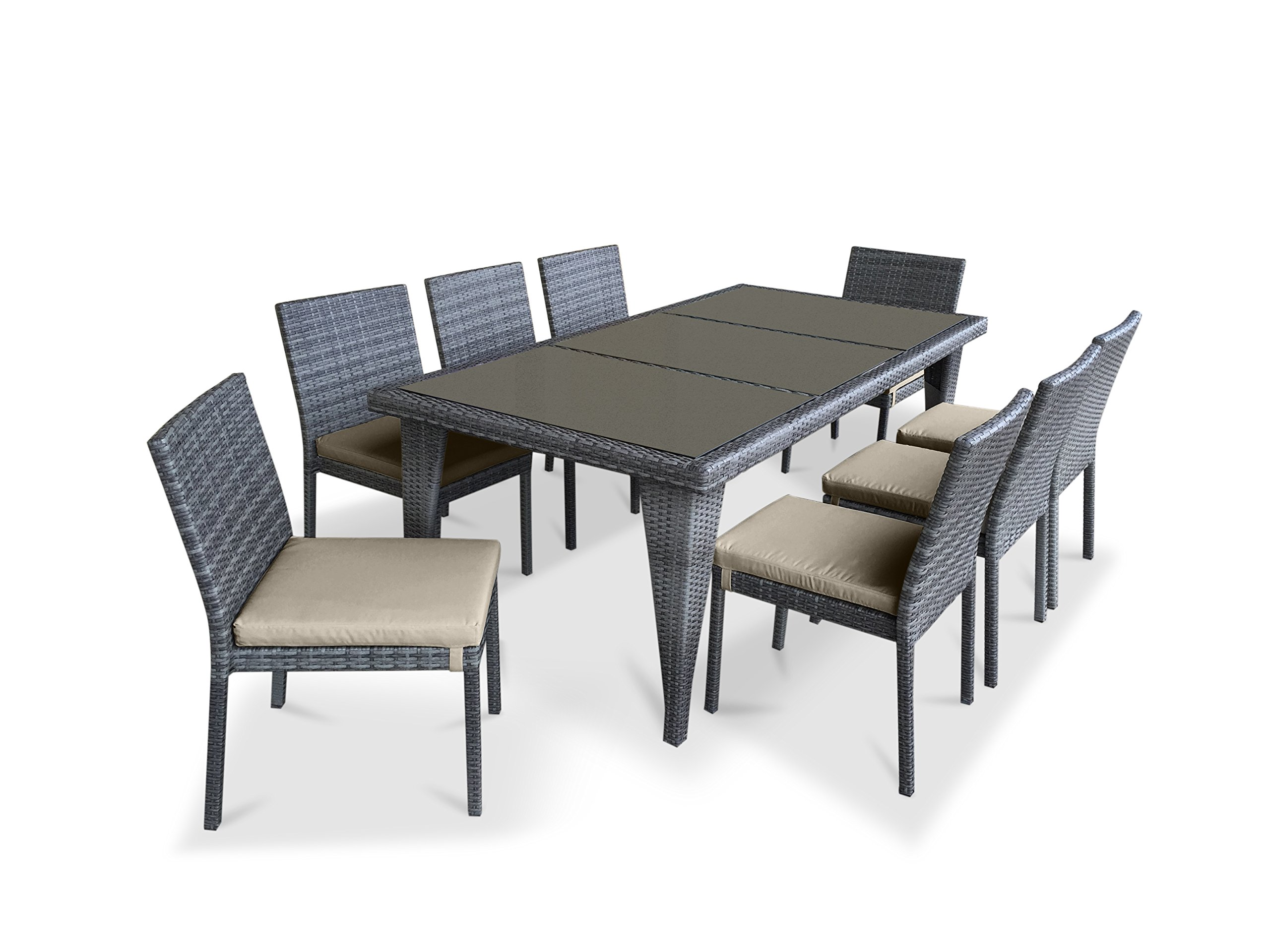 UrbanFurnishing.net - 9 Piece Wicker Outdoor Patio Dining Set - Gray Wicker/Beige - Sleek Ultra Modern Wicker Design with Gradient Shades of Grays Chairs are stackable and comes with detachable cushions. Cushions are comfortable, water resistant and easy to maintain with built-in zipper for easy removal and cleaning. - patio-furniture, dining-sets-patio-funiture, patio - 81aojRrenoL -