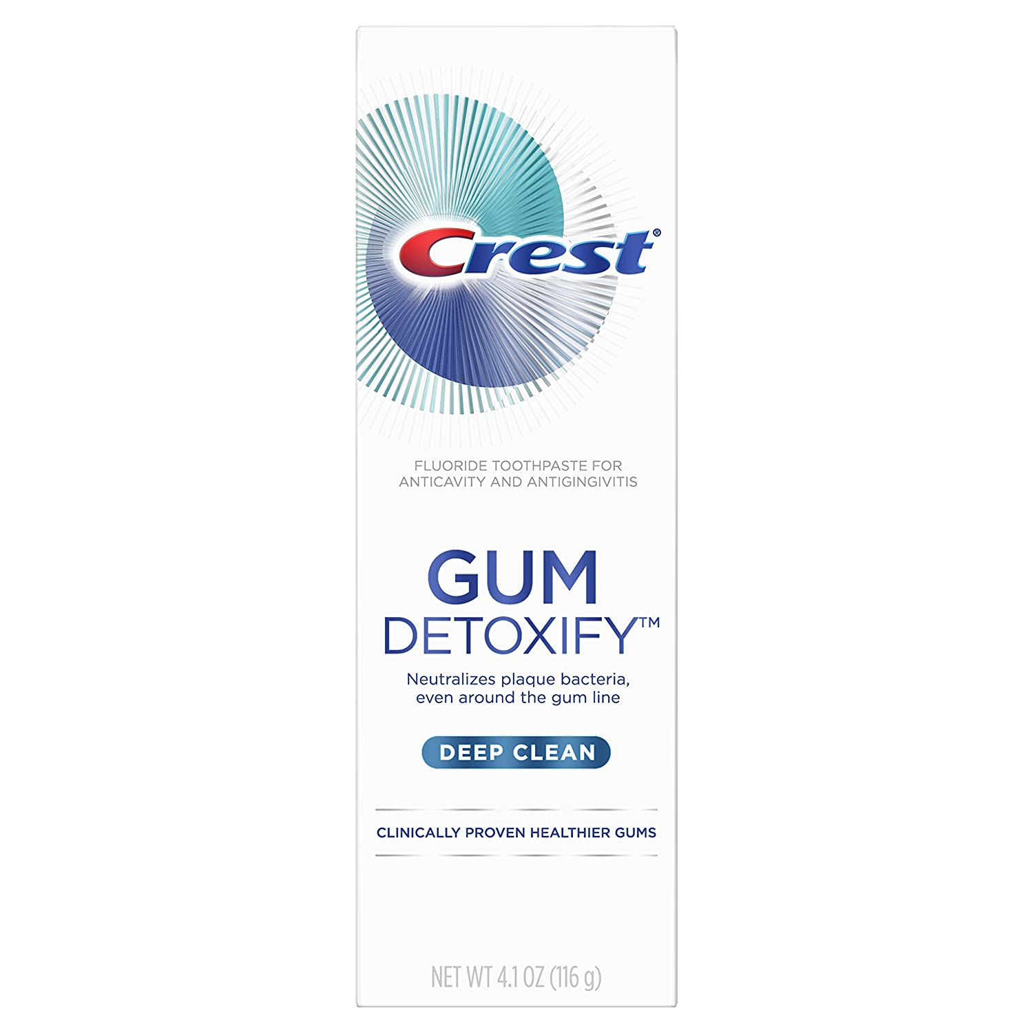Crest Gum Detoxify Toothpaste, Deep Clean, 4.1 Ounce (Pack of 12)