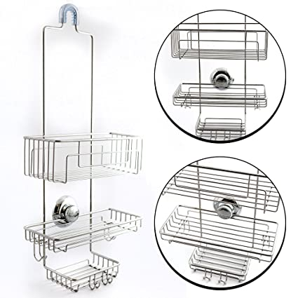 Amazon.com: Gecko-Loc Over the Shower Head Long Tall Shower Caddy ...