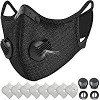 HONYAO Reusable Dust Face M Earloop Dust M, Protective M with Activated Carbon Filter and Valves for Allergy Motorcycle…