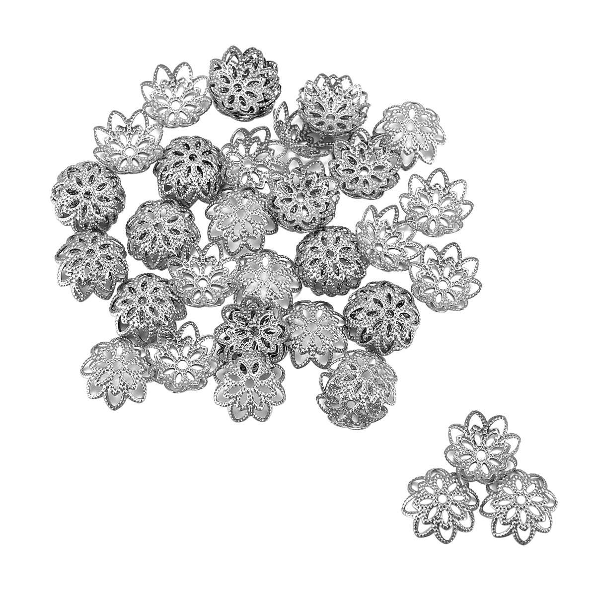 HOUSWEETY 50PCs Stainless Steel Silver Tone Flower Bead Caps for Jewelry Making Findings 10mmx10mm HOUSWEETYB111758