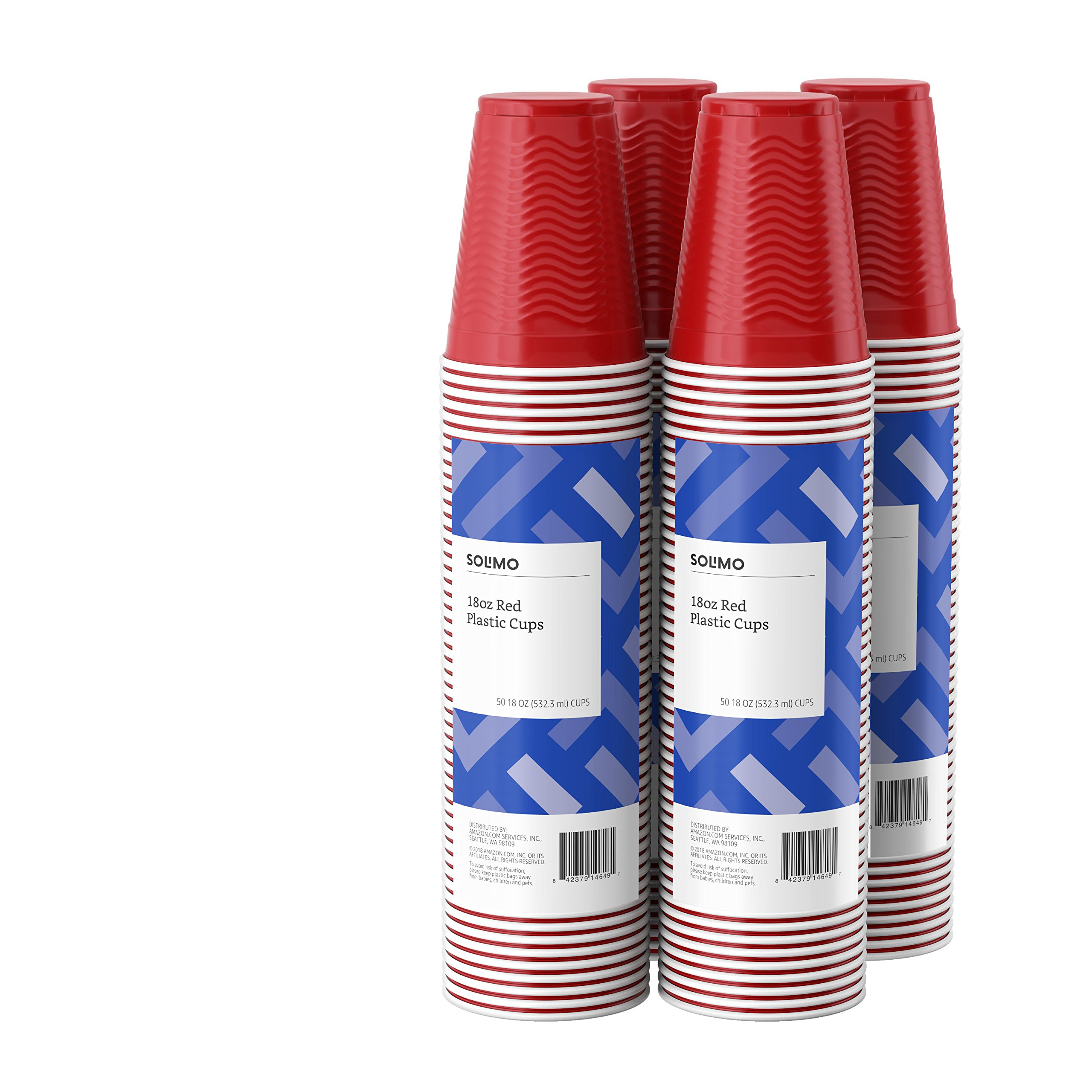Amazon Brand - Solimo 18oz Disposable Plastic Cups, 200 Count, Red