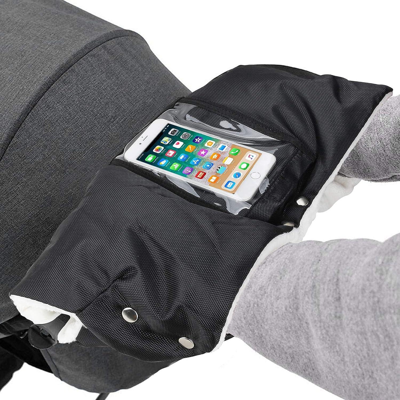 Komake Guantes de Silla de Paseo con bolsillo para tel/éfono m/óvil invierno impermeable a prueba de viento anticongelante Hand Muff Stroller Glove Pram Gloves