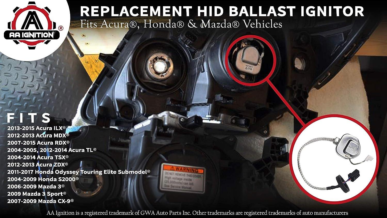 HID Headlight Xenon Ballast Ignitor - Replaces 33129-S0K-A01,  33129-SCC-003, 33129-SEA-003, W3T10571 - Fits Acura MDX, TL, TSX, RDX,  Honda Odyssey,