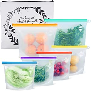 Reusable Silicone Food Storage Bags - Food Safe, Airtight Ziptop Stasher, Sandwich Snack Multipack Baggies to Pack Food Fresh - Food Grade Material of Freezer, Dishwasher, Microwave Safe