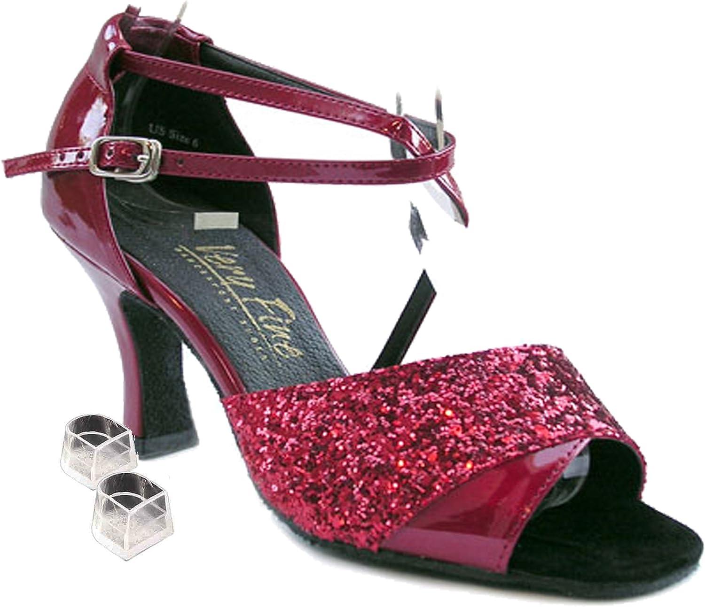 Very Fine Womens Salsa Ballroom Tango Latin Dance Shoes Style 1659 Bundle with Plastic Dance Shoe Heel Protectors Red Sparkle 5.5 M US Heel 2.5 Inch