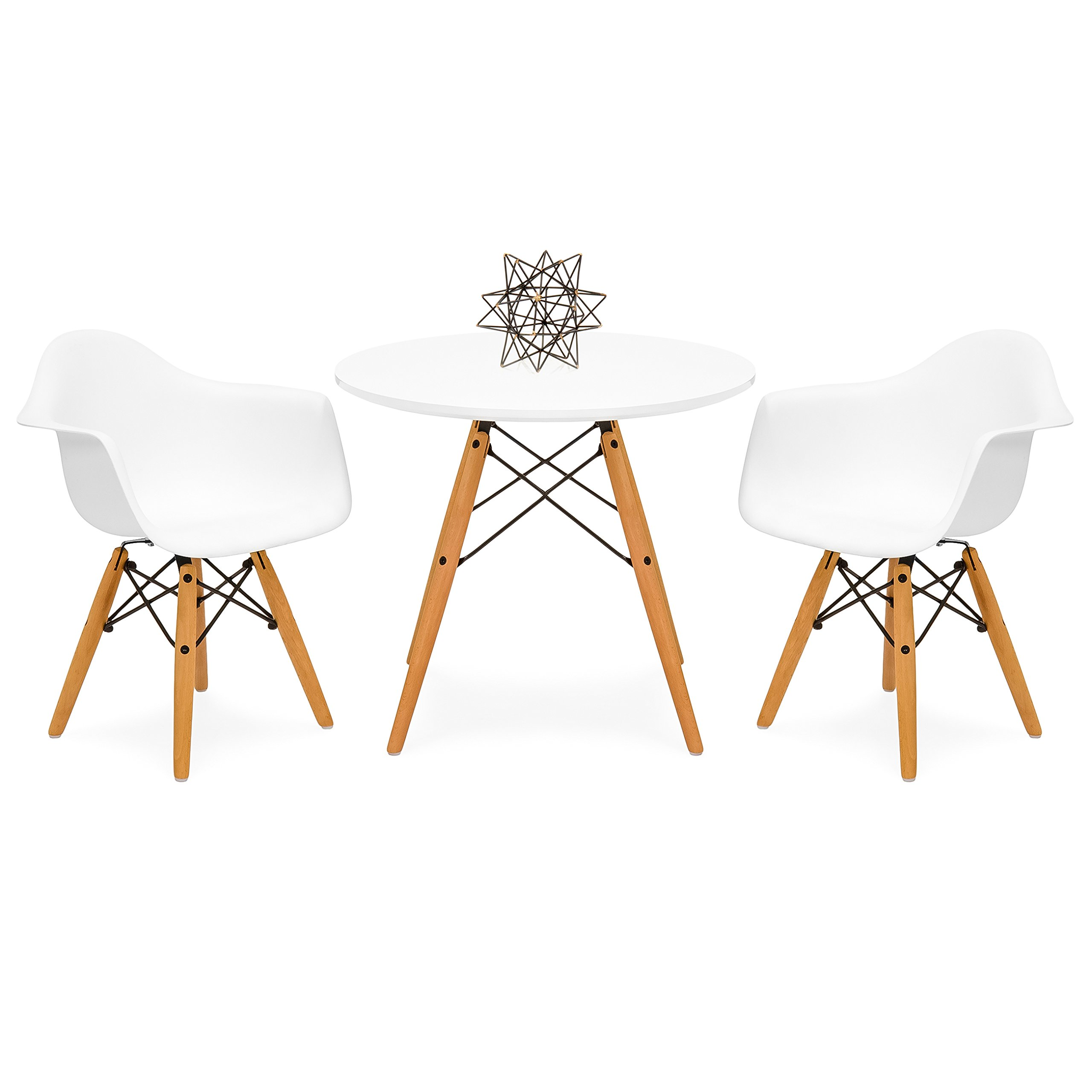Best Choice Products Kids Mid-Century Modern Mini Eames Style Multifunctional Round Table Set for Bedroom, Playroom, Dining Room with 2 Wood Leg Chairs, White by Best Choice Products