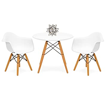 Superb Best Choice Products Kids Mid Century Modern Mini Eames Style Multifunctional Round Table Set For Bedroom Playroom Dining Room W 2 Wood Leg Chairs Gmtry Best Dining Table And Chair Ideas Images Gmtryco