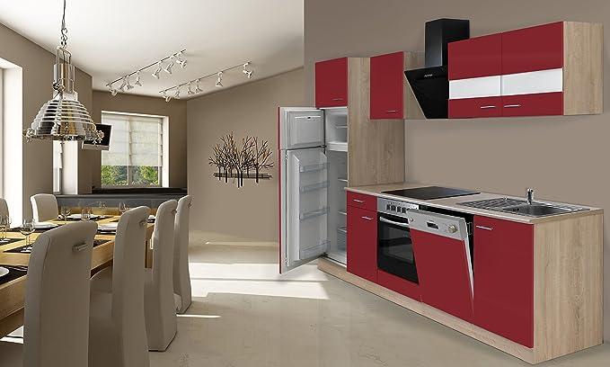 respekta Instalación de Cocina Cocina 280 cm Roble Rojo Incluye ...