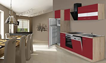 respekta Instalación de Cocina Cocina 280 cm Roble Rojo ...