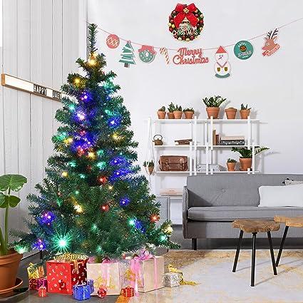 goplus 5ft pre lit artificial christmas tree auto spread close up branches 11 - Artificial Christmas Trees Prelit