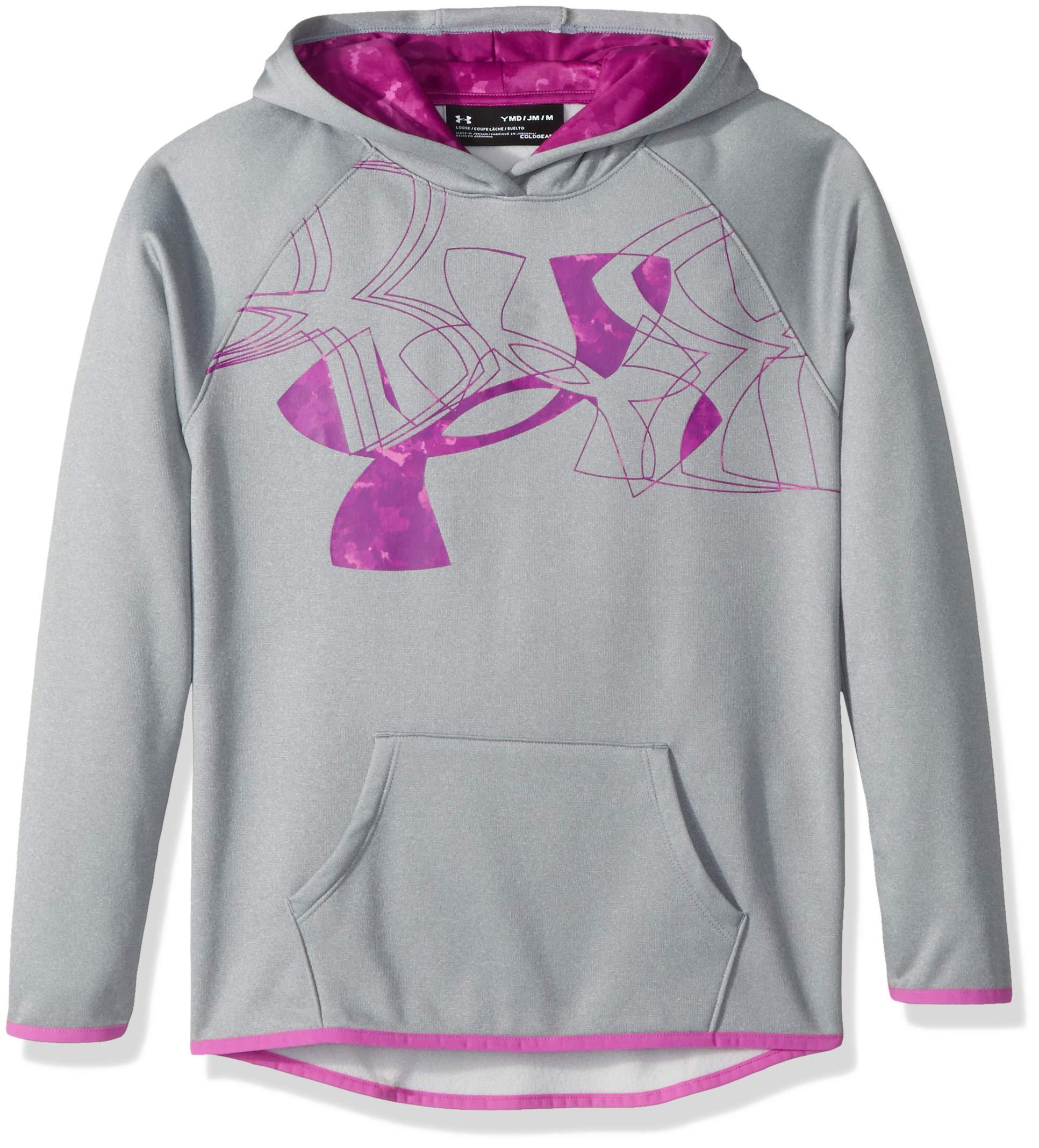 Under Armour Girls Armour Fleece Print Fill Logo Hoodie , Steel Light Heather (037)/Fluo Fuchsia, Youth Medium by Under Armour