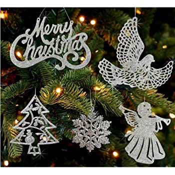 Amazon.com: BANBERRY DESIGNS Silver Christmas Ornaments - Pack of 39 ...