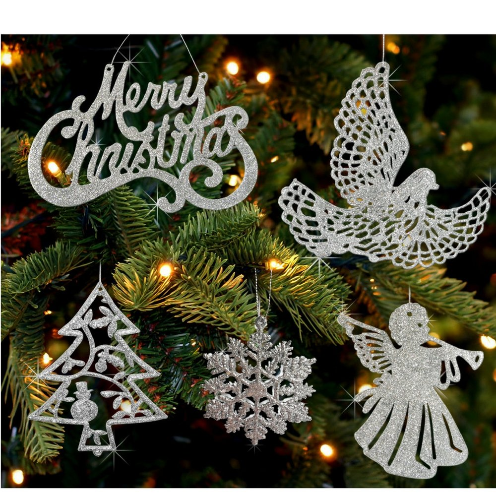 Silver Christmas Ornaments - Pack Of 39 Silver Glitter Ornaments - Merry Christmas, Angels, Doves, Xmas Trees And Snowflakes - Christmas Decorations