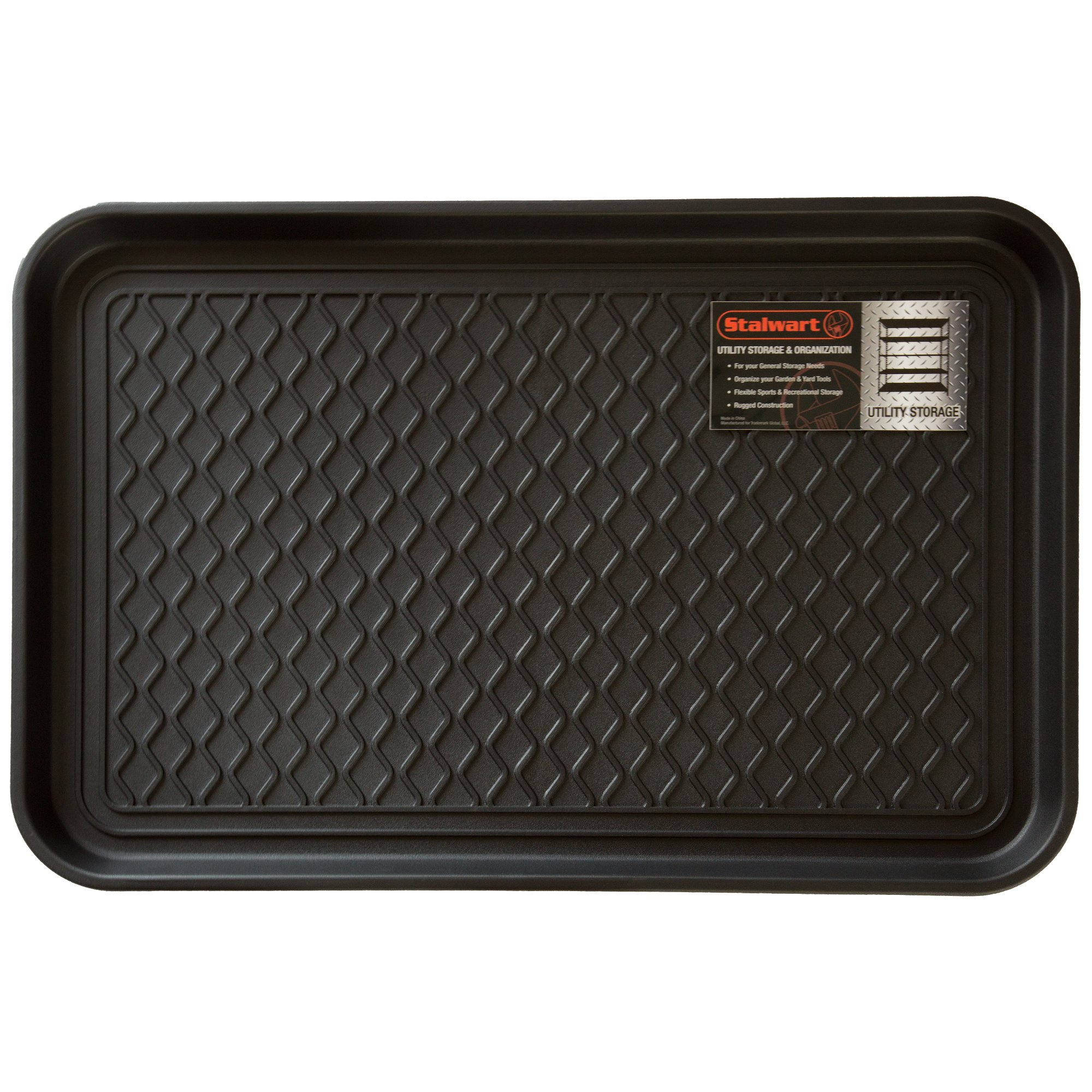 Stalwart 75-ST6014 Utility Boot Tray Mat, 24'' x 15''/Medium, Black