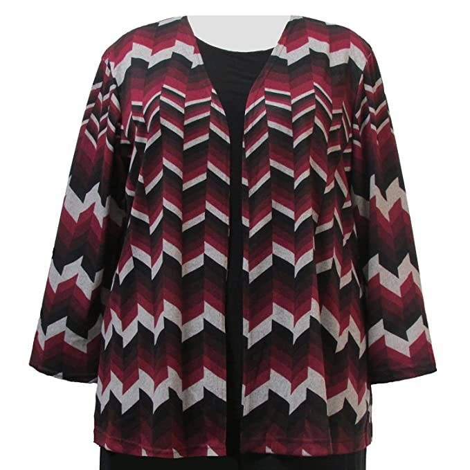 1920s Shawls, Scarves and Evening Jacket Tips Wine Chevron Cardigan Sweater Womans Plus Size Cardigan $48.99 AT vintagedancer.com