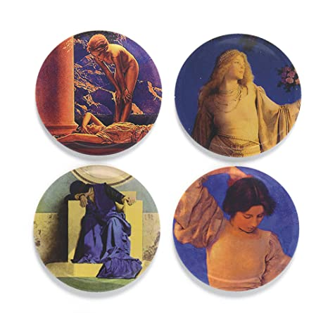 Amazon.com: buttonsmith Maxfield Parrish Art Nouveau 1.25 ...