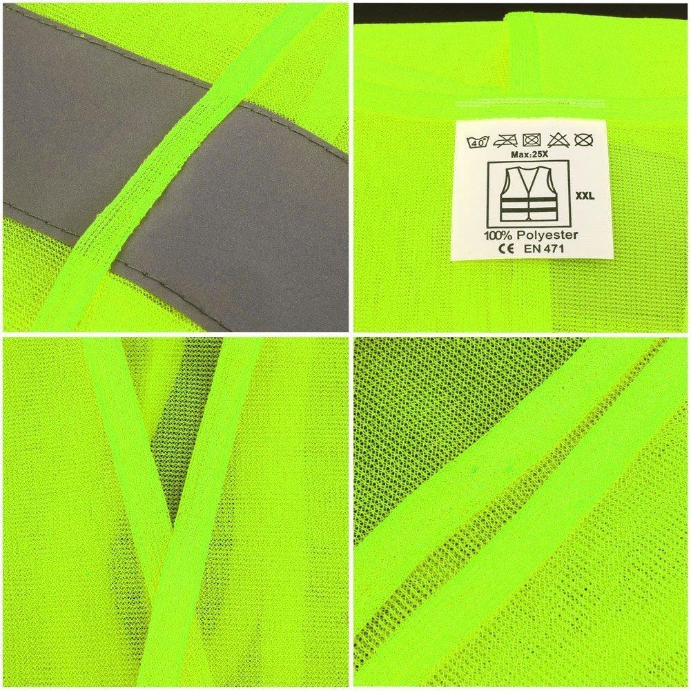 Minleer Chaleco Reflectante Chaleco de Seguridad Lavable Chaleco contra Accidentes Visibilidad de 360 Grados sin Arrugas tama/ño est/ándar EN ISO 20471 3 Piezas Amarillo