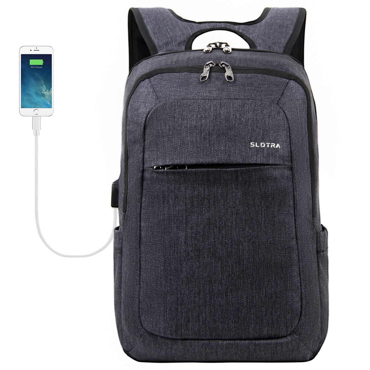 bf06a0aee3d3 SLOTRA Slim Laptop Backpack with USB Charging Port up to 15.6