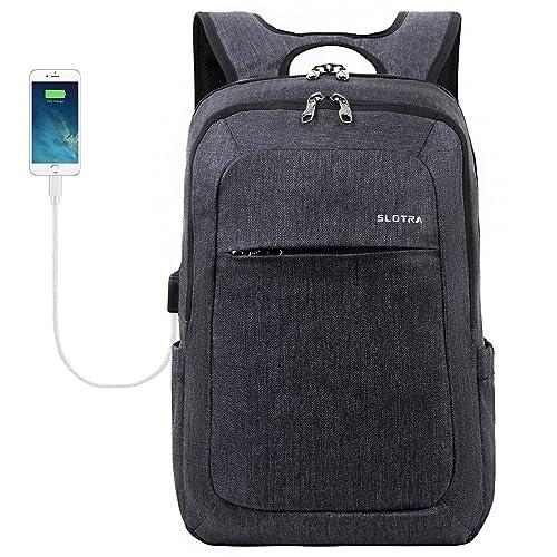 "SLOTRA Slim Laptop Backpack with USB Charging Port up to 15.6"" Business Rucksack Lightweight Water Resistant Shoulder Notebook Backpack Anti-Theft, Dark Grey"
