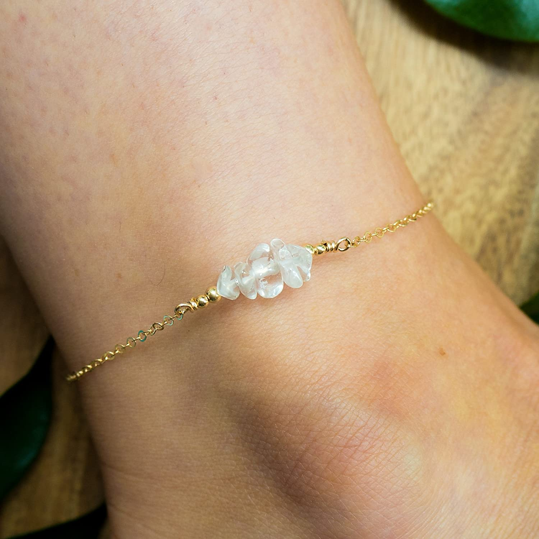 Crystal Quartz bead bar crystal gemstone anklet in 14k gold fill - 8