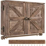 Rustic Wall Mounted Jewelry Organizer with Wooden Barndoor Decor. Jewelry holder for Necklaces, Earings, Bracelets, Ring Hold