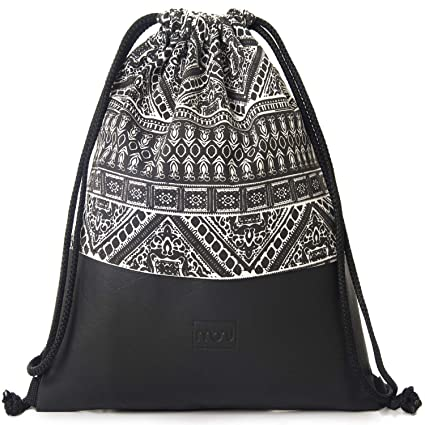 34fc179167 Amazon.com   MONi Drawstring Backpack Gym Bag with Vegan Leather and  Adjustable Strings Black White   Sports   Outdoors