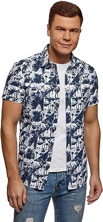 oodji Ultra Hombre Camisa Estampada de Manga Corta